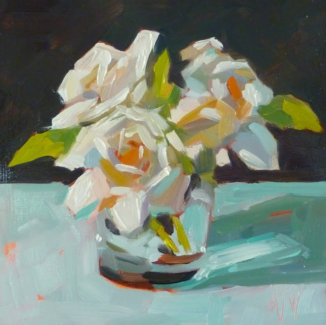 """Three Gardenias 6x6 Demo for my painting class. Three fragrant Gardenias."" original fine art by Mary Sheehan Winn"