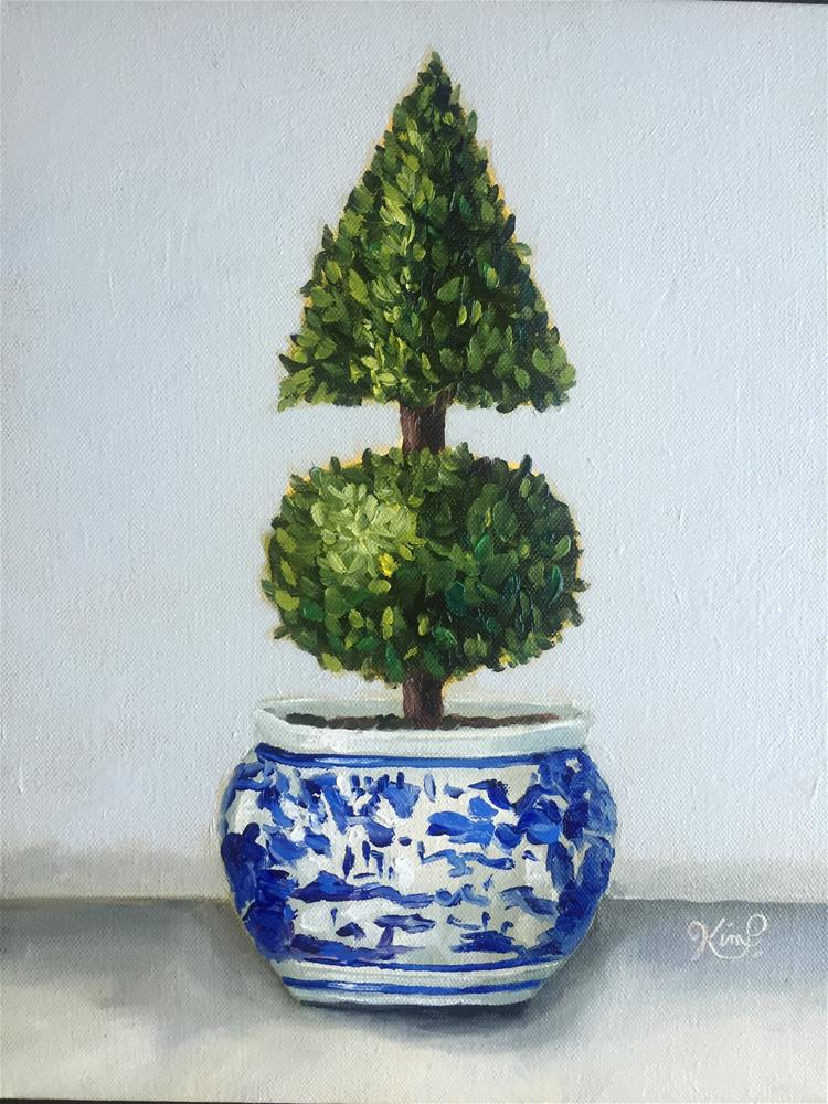 """Topiary III in blue and white porcelain"" original fine art by Kim Peterson"