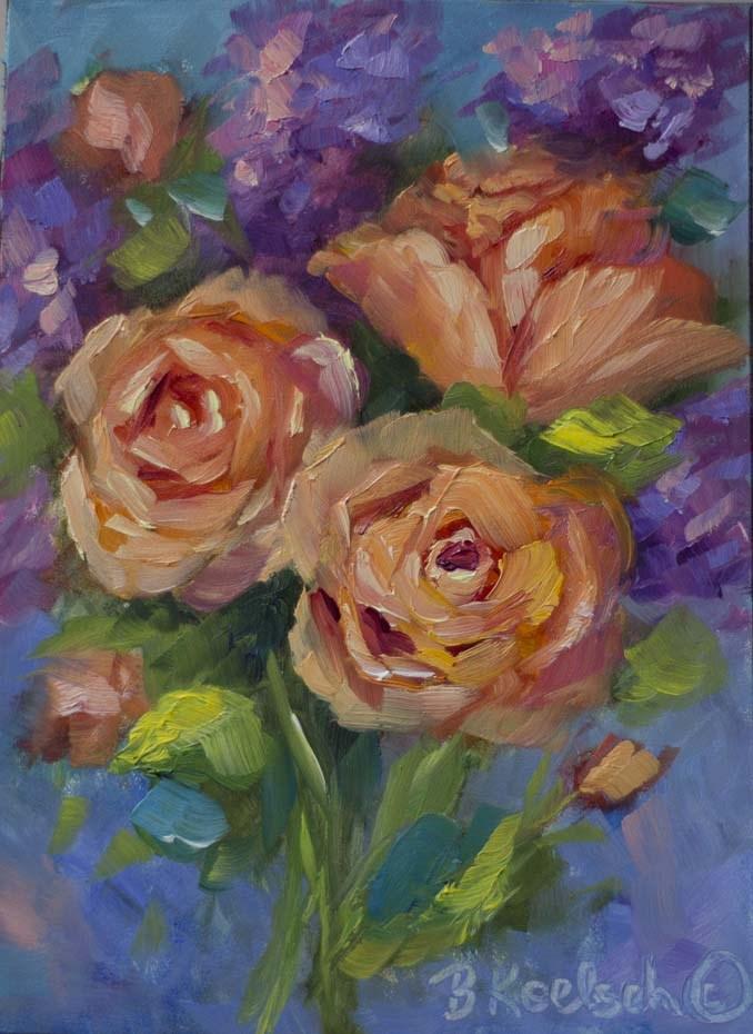 """Orangesicle Roses"" original fine art by Bobbie Koelsch"