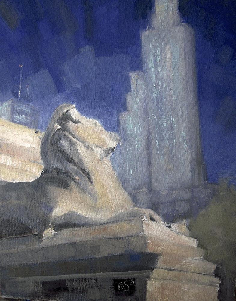 """""""Sentinel Lion"""" original fine art by Aurelio Saiz"""