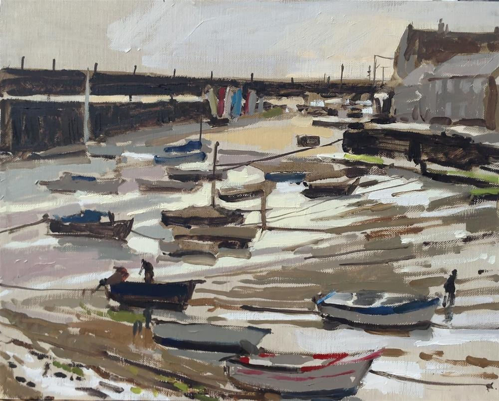 """""""Low tide in the harbour, Mousehole"""" original fine art by Haidee-Jo Summers ROI"""