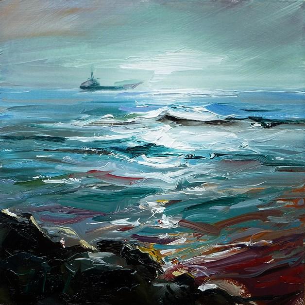 """Fischerboot am Horizont"" original fine art by Jurij Frey"