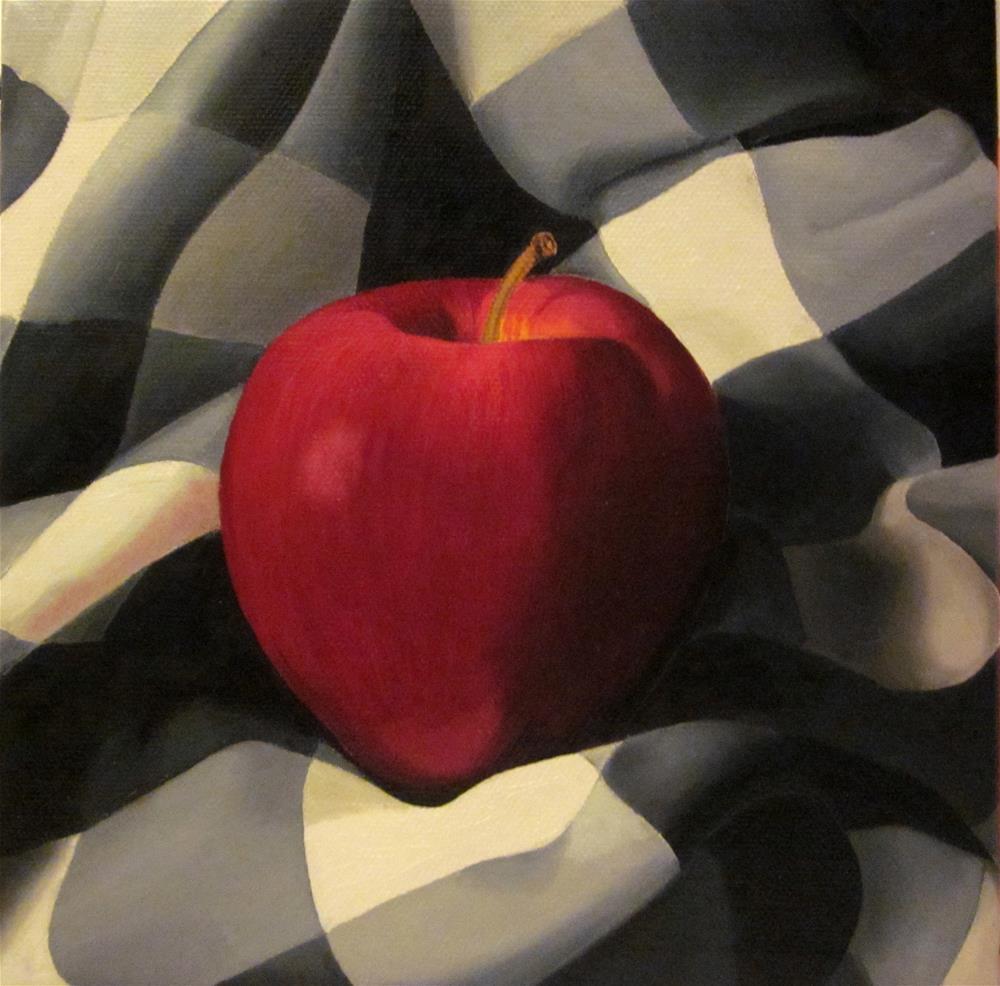 """Apple on a Checkered Cloth"" original fine art by Catherine Al-Rubaie"