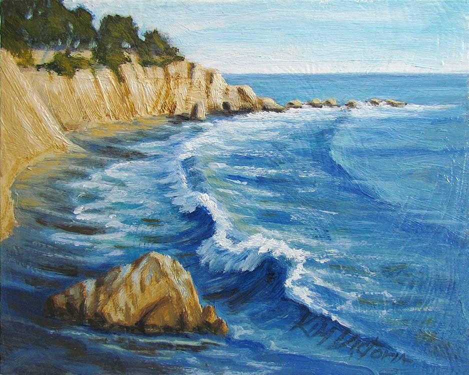 """Ocean Shore Crescent Waves"" original fine art by Kim Victoria"