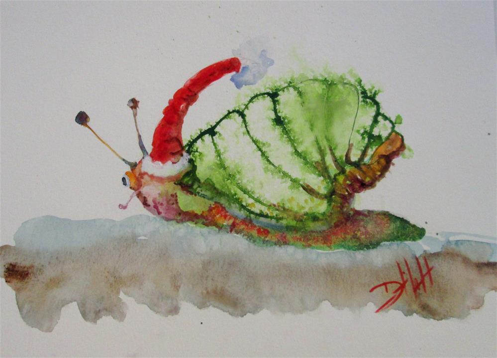 """Santa Snail"" original fine art by Delilah Smith"