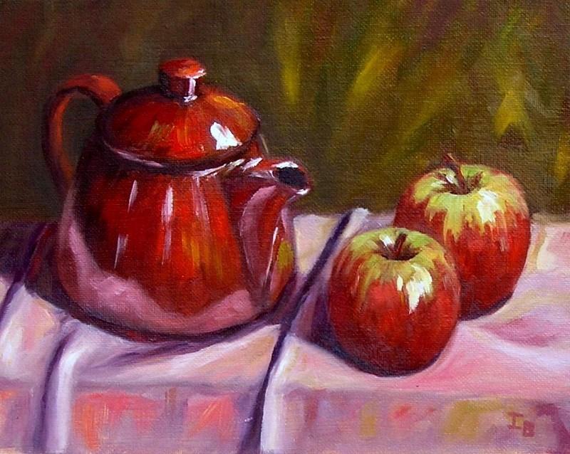 """Red Teapot"" original fine art by Irina Beskina"