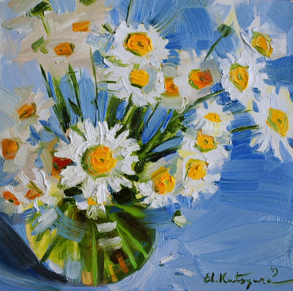"""Daisies in the Sky"" original fine art by Elena Katsyura"