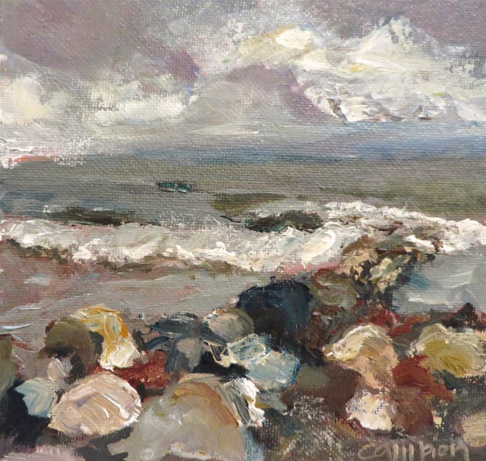 """572 Plymouth Beach and Rocks"" original fine art by Diane Campion"
