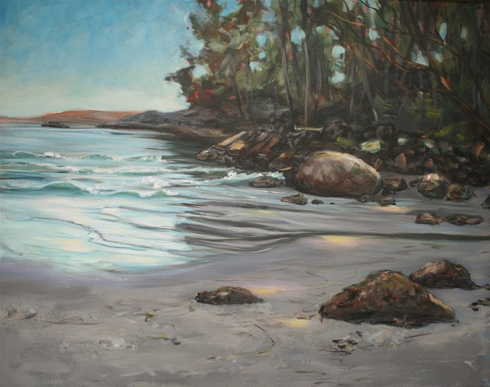 """""""SOLD   Weir's beach in dappled light"""" original fine art by Ruth Van Egmond"""