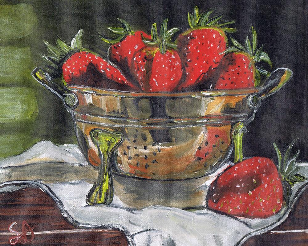 """Strawberries in a Copper Colindar II"" original fine art by Samara Doumnande"