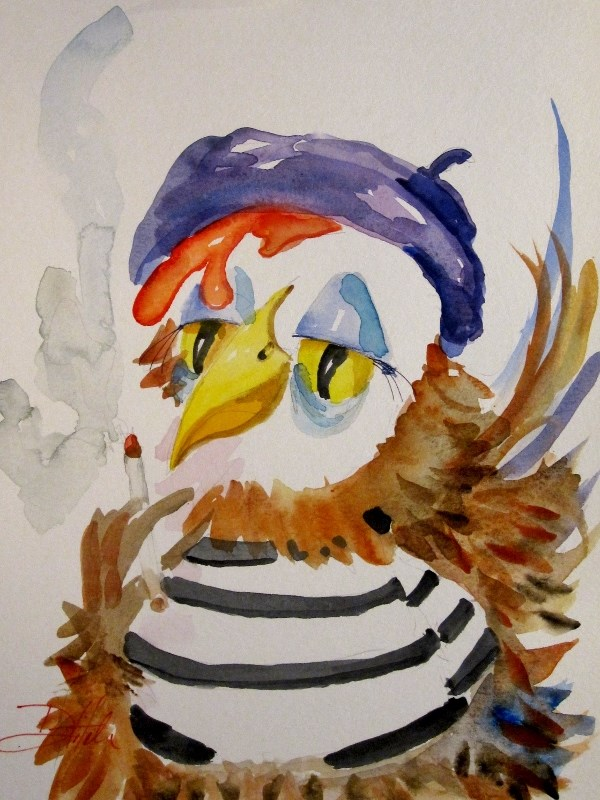 """""""French Hen"""" original fine art by Delilah Smith"""