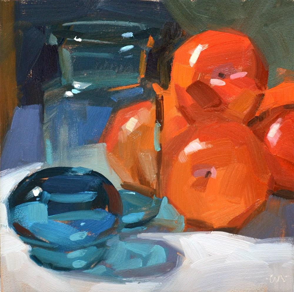 """Red Plums, Blue Bottle"" original fine art by Carol Marine"