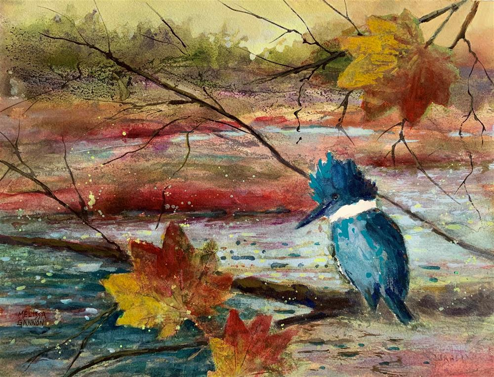 """Kingfisher in the Autumn"" original fine art by Melissa Gannon"
