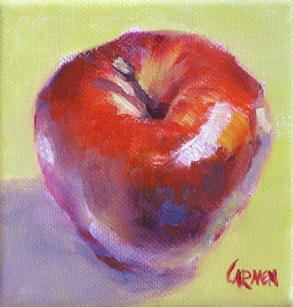 """""""Apple, 4x4 Oil on Canvas"""" original fine art by Carmen Beecher"""