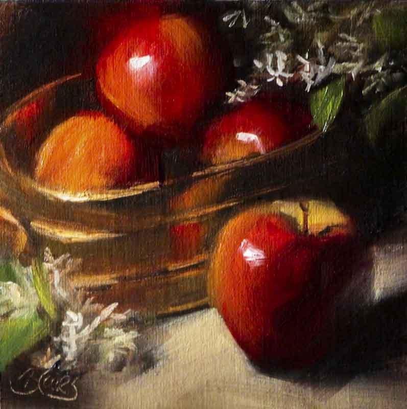 """""""Brass Bucket of Apples"""" original fine art by Pamela Blaies"""