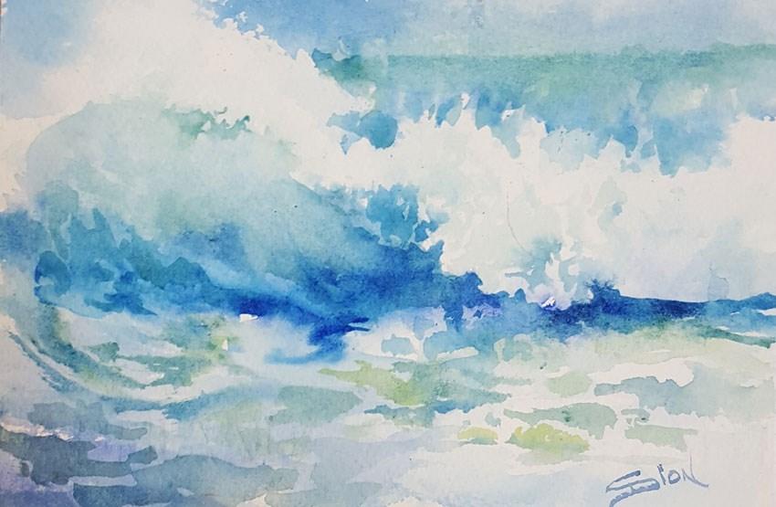 """""""Malibu Blue"""" original fine art by Sue Dion"""