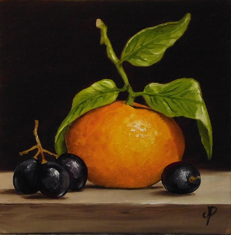 """Clementine with black grapes"" original fine art by Jane Palmer"