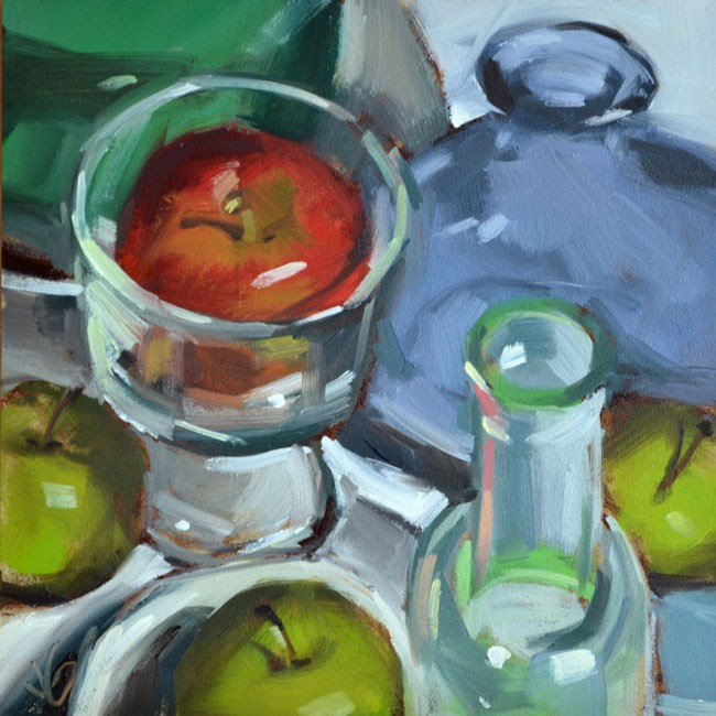 """""""Apples and Glass"""" original fine art by Jessica Green"""