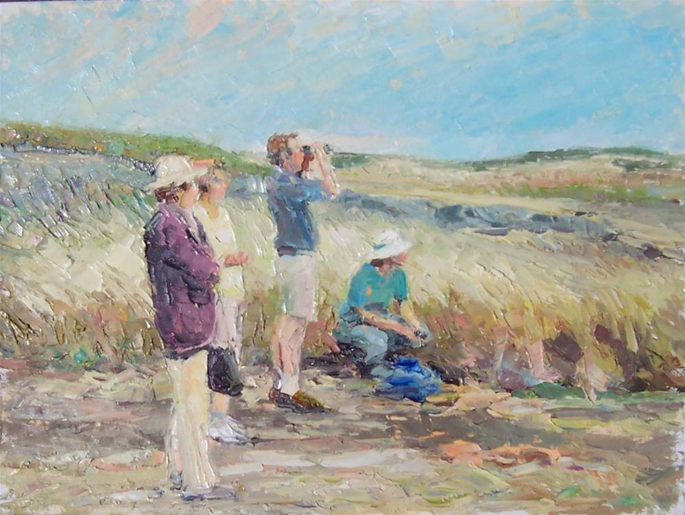 """Bird Watchers,figures,oil on canvas,16x20,priceNFS"" original fine art by Joy Olney"