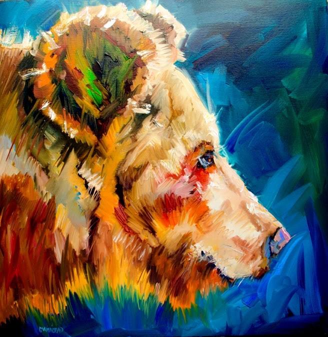 """ARTOUTWEST DIANE WHITEHEAD BEAR YEARLING WILDLIFE ANIMAL ART"" original fine art by Diane Whitehead"