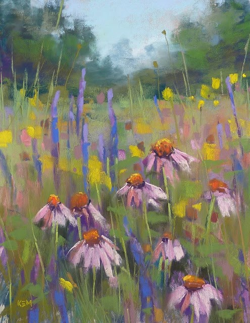 """""""Pastel Demo ... Painting a Tangle of Wildflowers"""" original fine art by Karen Margulis"""