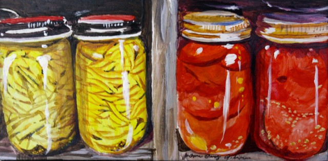 """""""Wax Beans and Tomatos"""" original fine art by JoAnne Perez Robinson"""
