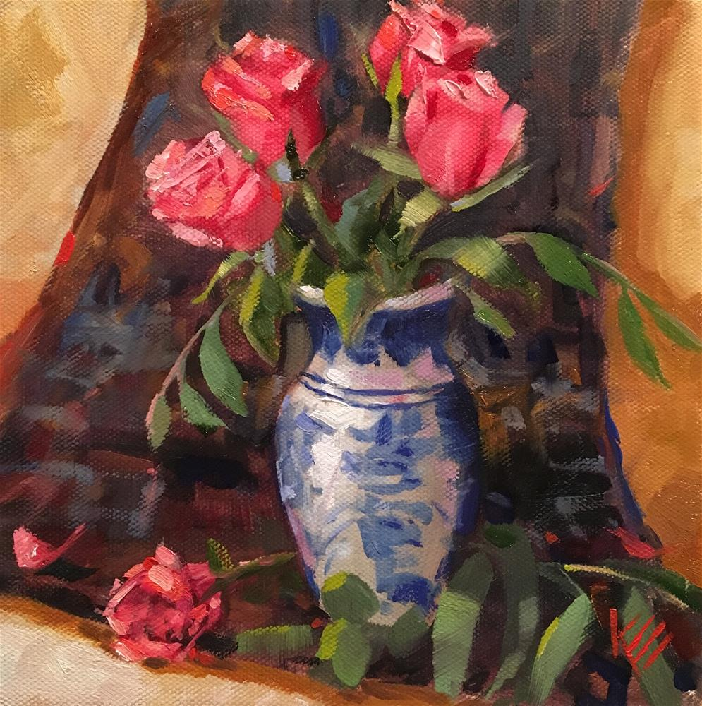 """Roses in Blue & White vase"" original fine art by Krista Eaton"