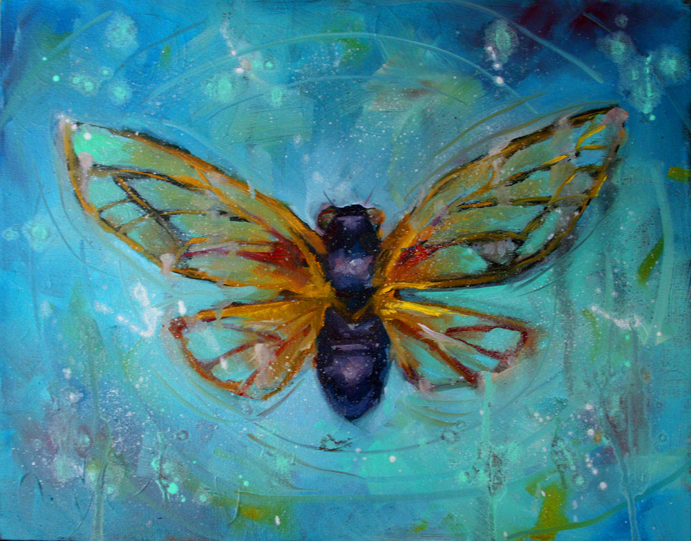 """Night Cicada"" original fine art by Clair Hartmann"