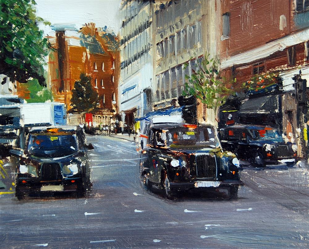 """""""3 Black Cabs, Upper Martins Lane"""" original fine art by Adebanji Alade"""