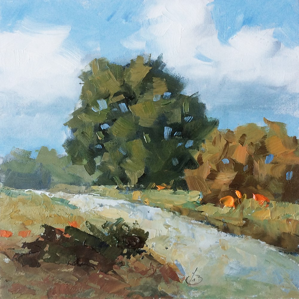"""TREES & ROAD"" original fine art by Tom Brown"
