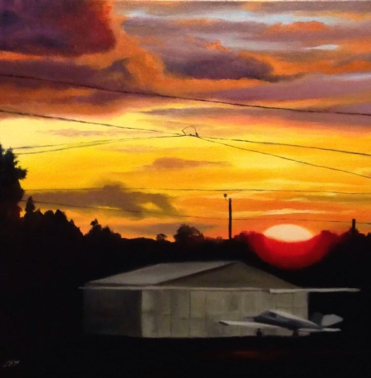 """Airport Sunset"" original fine art by ~ces~ Christine E. S. Code"