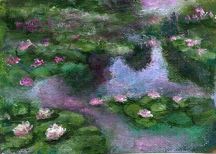 """""""ACEO Waterlilies in the style of Monet Acrylic Miniature by Penny Lee StewArt"""" original fine art by Penny Lee StewArt"""