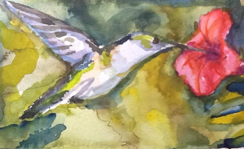 """""""Hummingbird"""" original fine art by Jean Krueger"""