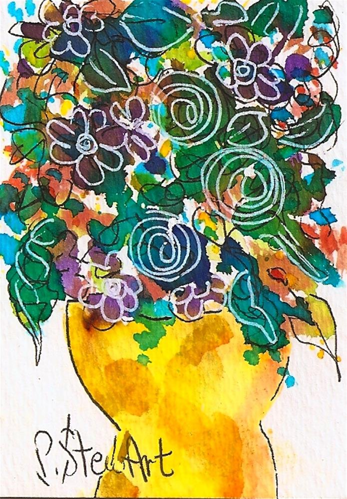 """""""ACEO Folk Art Floral Bouquet in Yellow Vase, Original, Watercolor and Pen"""" original fine art by Penny Lee StewArt"""