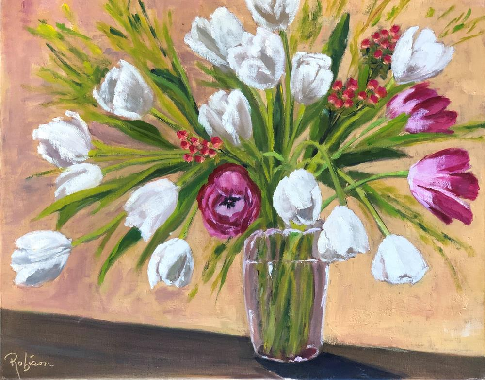 """Who Slipped in the Pink Tulips?"" original fine art by Renee Robison"