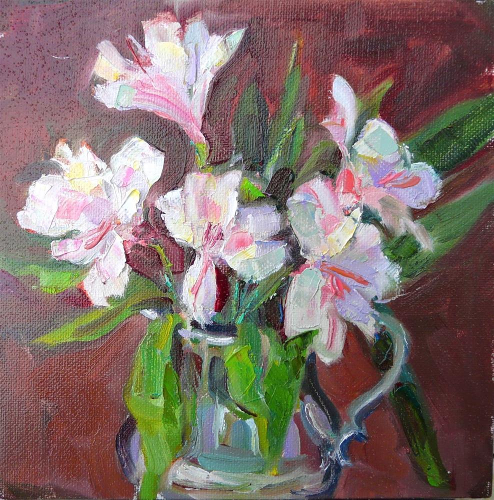 """Birthday Flowers,still life,oil on canvas,8x8,price$225"" original fine art by Joy Olney"