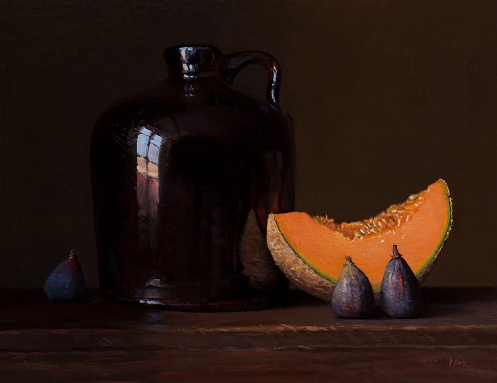 """""""Still life with Jug, Cantaloupe, and Figs (the light, the shade)"""" original fine art by Abbey Ryan"""
