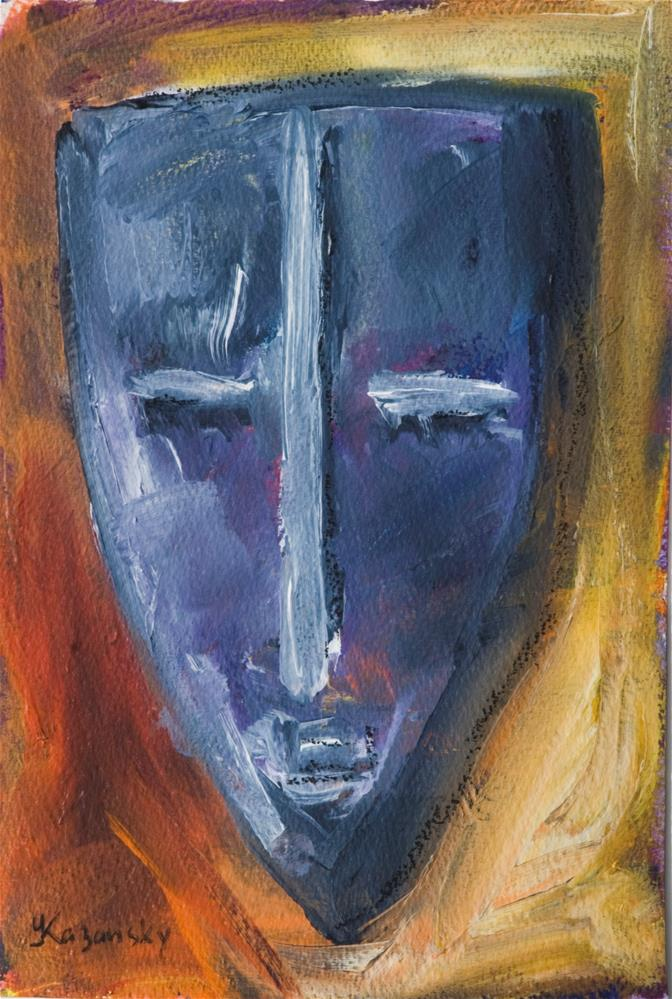 """African Mask"" original fine art by Yulia Kazansky"