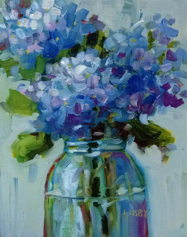 """""""Party of Blue"""" original fine art by Libby Anderson"""