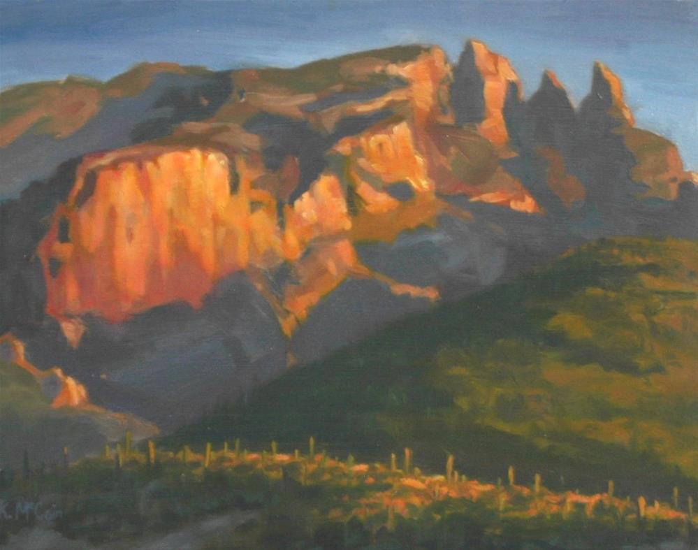 """""""Warmly Lit Hillside"""" original fine art by K.R. McCain"""