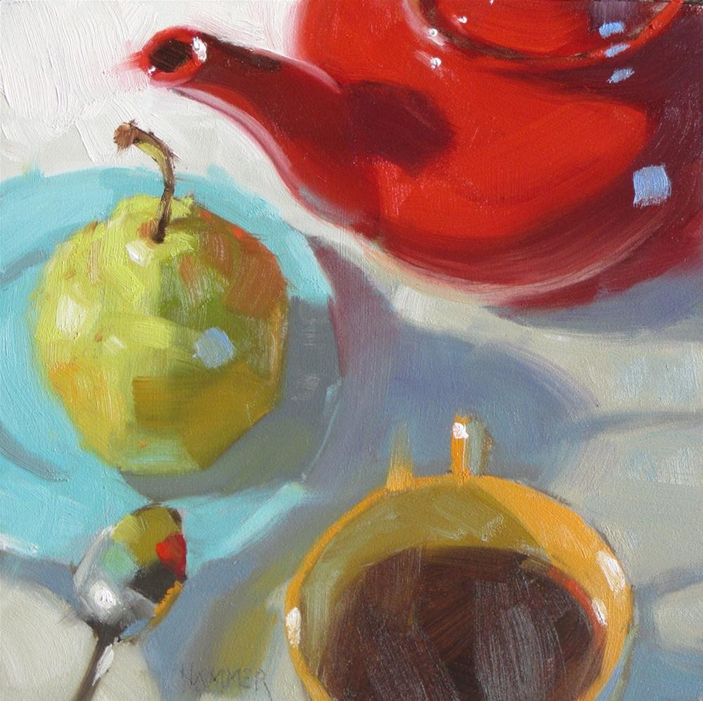 """The Teapot and her friends 6 x 6  oil"" original fine art by Claudia Hammer"