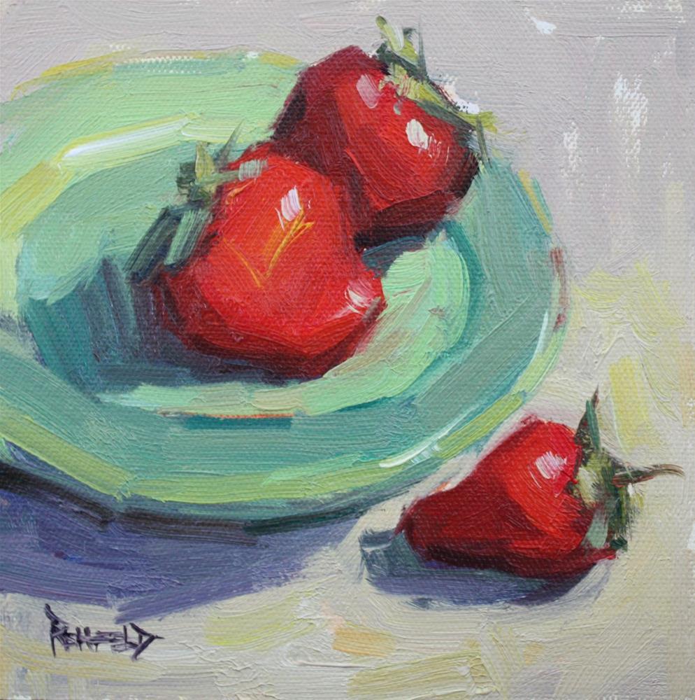 """""""Fresh Strawberries"""" original fine art by Cathleen Rehfeld"""