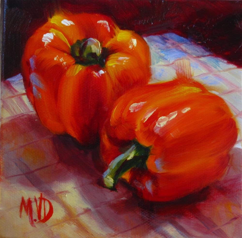 """Peppers on the Table"" original fine art by Mary Van Deman"