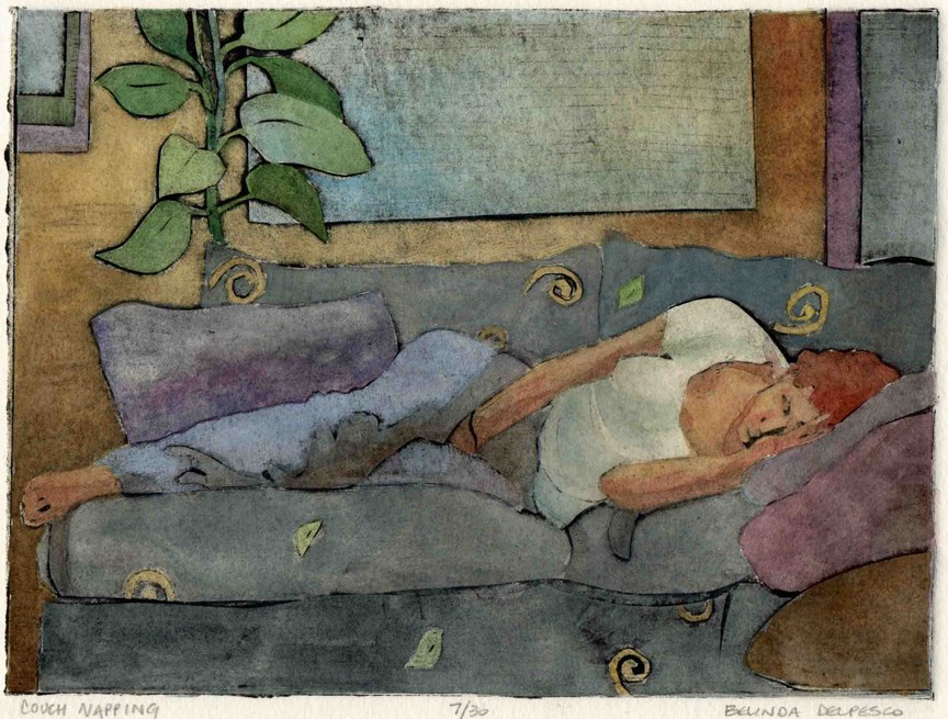 """""""Collagraph: Couch Napping (2-day countdown for a free book on printmaking techniques)"""" original fine art by Belinda Del Pesco"""