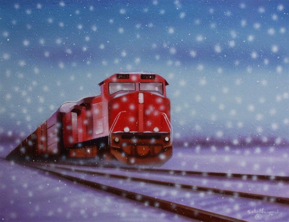 """""""Snow Train"""" original fine art by Fred Schollmeyer"""