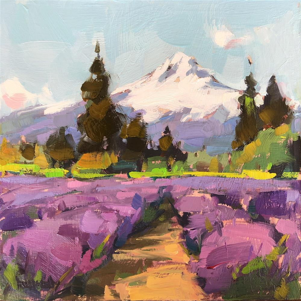 """Mt Hood Lavender Valley"" original fine art by Cathleen Rehfeld"