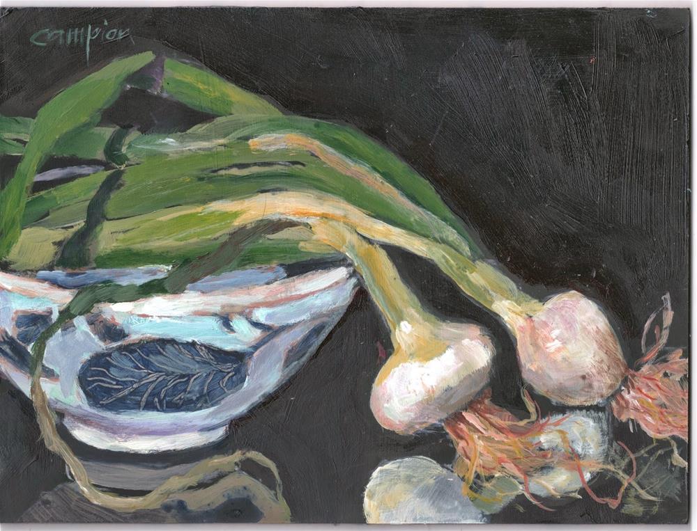 """411  Pearl Onions in the Spotlight"" original fine art by Diane Campion"