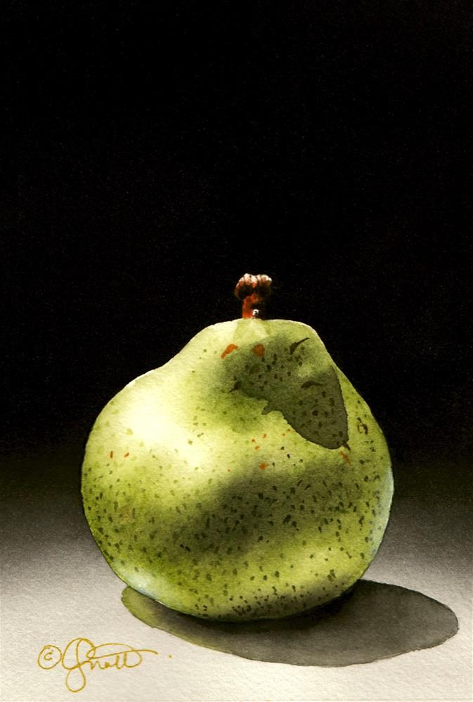 """The Pear"" original fine art by Jacqueline Gnott, TWSA, WHS"