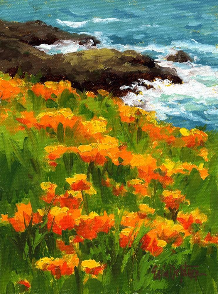"""Gold Flowers and Whitewater"" original fine art by Erin Dertner"