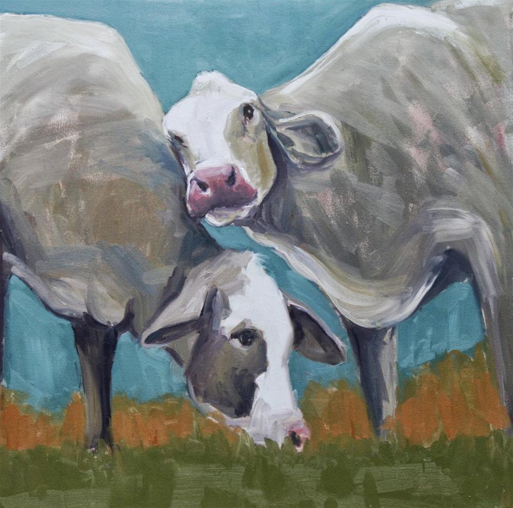 """cow love"" original fine art by Carol Carmichael"